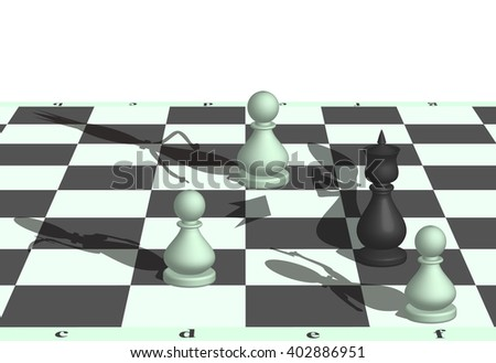 3D illustration of capture of the chess king pawns
