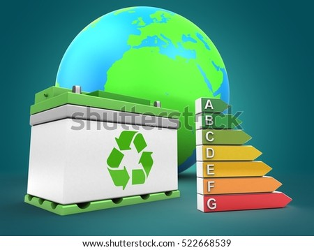3d illustration of car battery over blue background with earth globe and efficient ranks
