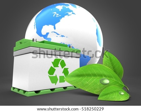 3d illustration of car battery over gray background with world globe and green leaf