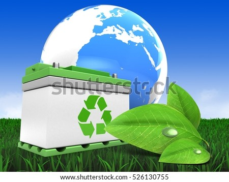 3d illustration of car battery over meadow background with earth and green leaf