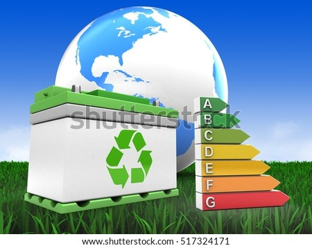 3d illustration of car battery over meadow background with world globe and efficient ranks