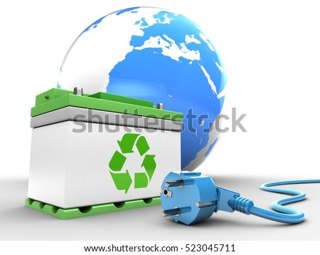 3d illustration of car battery over white background with earth and power cable