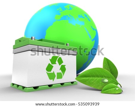 3d illustration of car battery over white background with earth globe and leaf