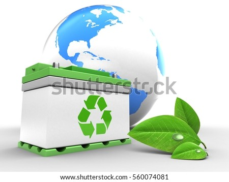 3d illustration of car battery over white background with world globe and leaf