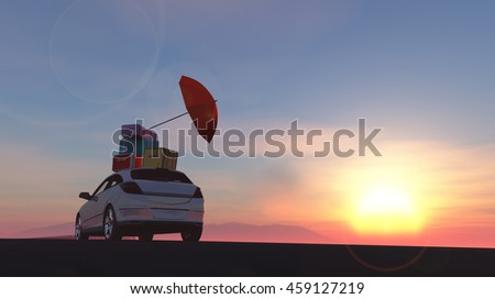 3d illustration of car loaded with suitcases between wheat fields