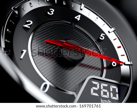 3d illustration of car tachometer. High speed concept