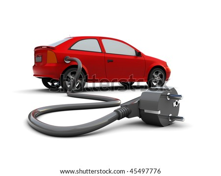 3d illustration of car with power plug, electric car concept - stock photo