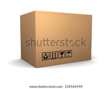 3d illustration of cardboard box over white background - stock photo