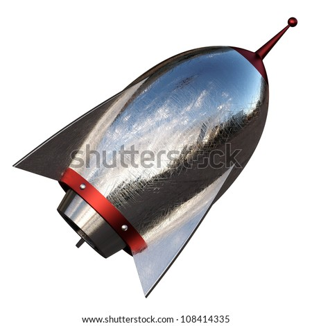 3D illustration of cartoon rocket over white background - stock photo