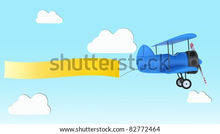 3d illustration of cartooned airplane with message empty banner - stock photo