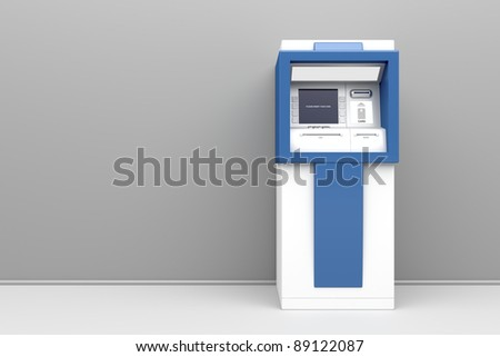 3d illustration of cash machine - stock photo