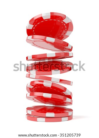 3d illustration of casino chips isolated on the white background - stock photo