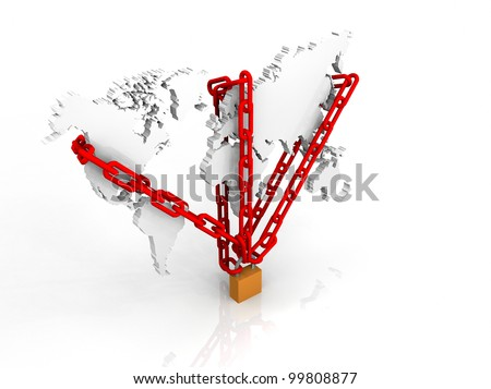 3d illustration of chain and lock around a world map