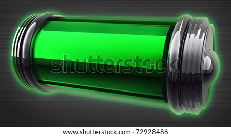 3d illustration of charged battery on grey background