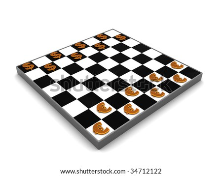 3d illustration of checkers with dollar and euro symbols