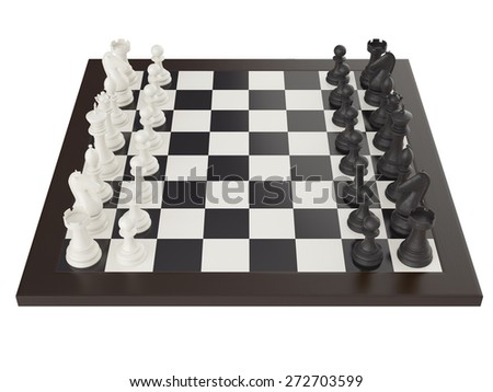 3d illustration of chess on chessboard - stock photo