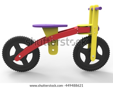 3d illustration of children bicycle. icon for game web. white background isolated. colored and cute. - stock photo
