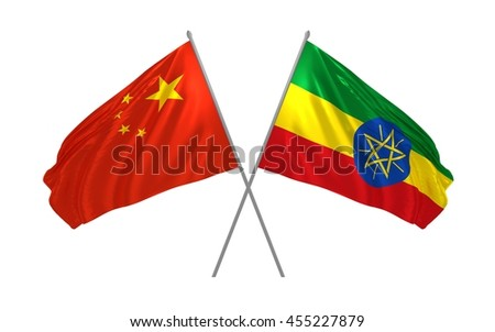 3d illustration of China and Ethiopia flags together waving in the wind - stock photo