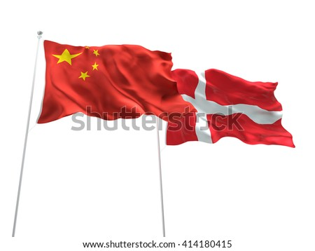 3D illustration of China & Denmark Flags are waving on the isolated white background