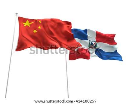 3D illustration of China & Dominican Republic Flags are waving on the isolated white background