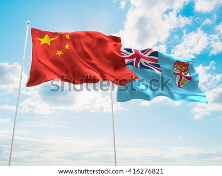 3D illustration of China & Fiji Flags are waving in the sky