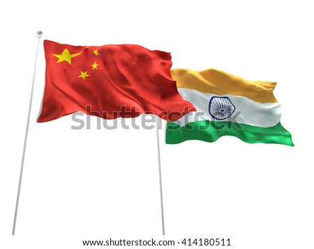 3D illustration of China & India Flags are waving on the isolated white background - stock photo