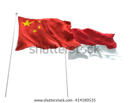 3D illustration of China & Indonesia Flags are waving on the isolated white background