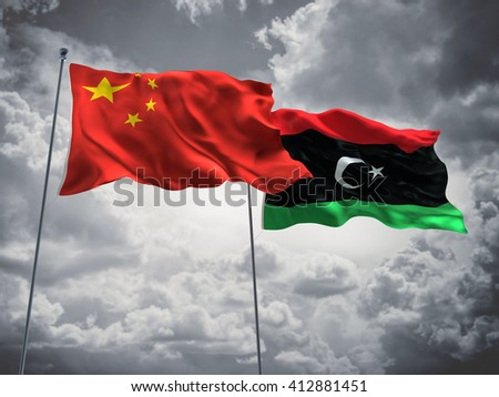 3D illustration of China & Libya Flags are waving in the sky with dark clouds  - stock photo