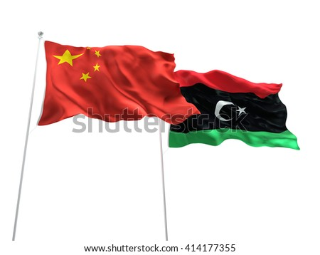 3D illustration of China & Libya Flags are waving on the isolated white background - stock photo