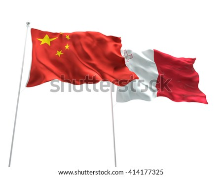 3D illustration of China & Malta Flags are waving on the isolated white background