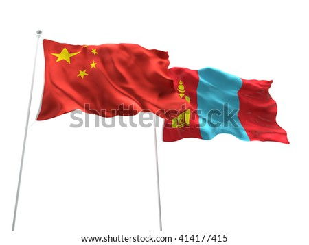 3D illustration of China & Mongolia Flags are waving on the isolated white background