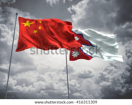 3D illustration of China & Nepal Flags are waving in the sky with dark clouds  - stock photo