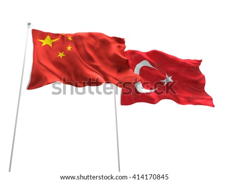 3D illustration of China & Turkey Flags are waving on the isolated white background