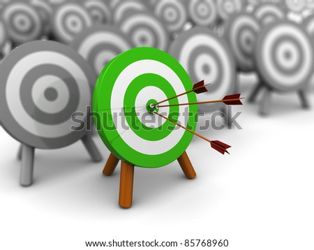 3d illustration of choice right target concept - stock photo