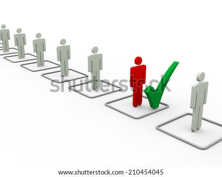 3d illustration of chosen person with check mark from people list - stock photo