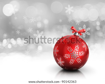 3d illustration of christmas background or card, with red glass ball - stock photo
