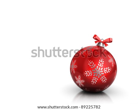 3d illustration of christmas background or simple card, with red glass ball