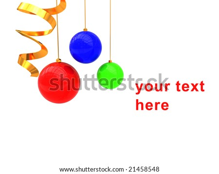 3d illustration of christmas background with balls and golden helix