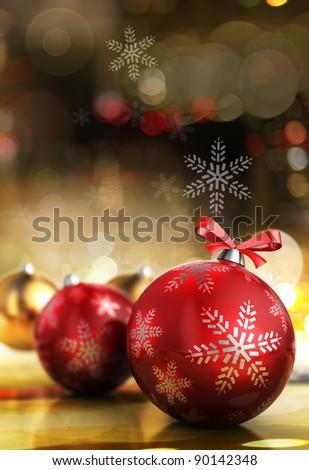 3d illustration of christmas balls, over city lights background - stock photo