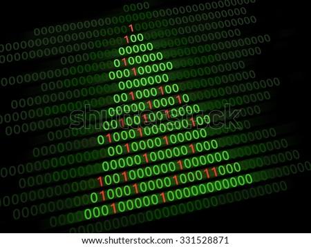 3d illustration of Christmas tree binary code - stock photo