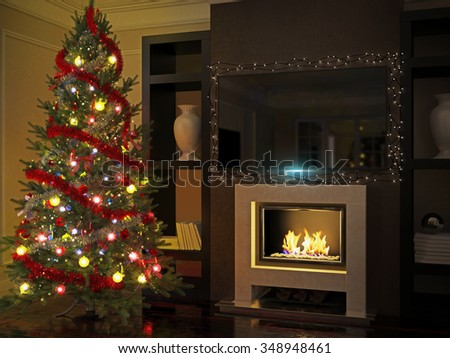3d illustration of Christmas tree in a luxurious interior with fireplace and TV - stock photo