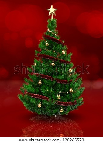 3d illustration of christmas tree over red background - stock photo
