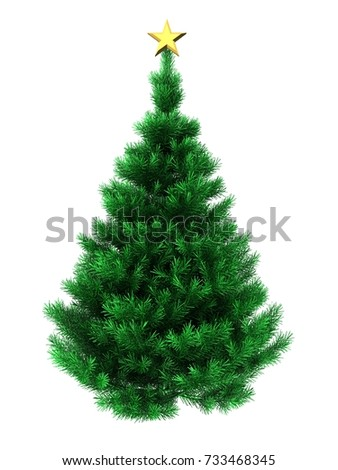 3d illustration of Christmas tree over white background