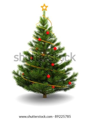 3d illustration of christmas tree, over white background - stock photo