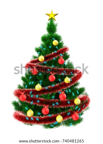 3d illustration of Christmas tree with blue stars over white background