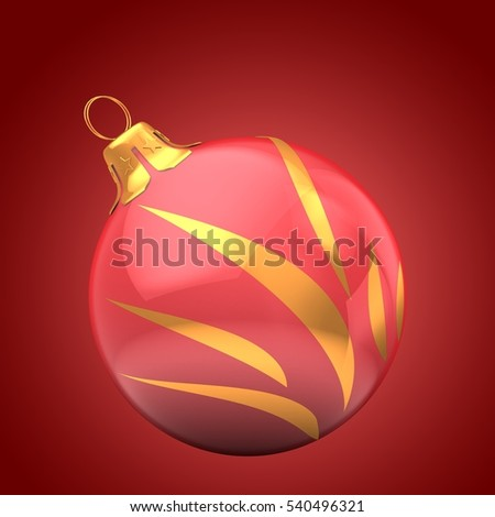 3d illustration of Christmass ball over red background with golden ornament