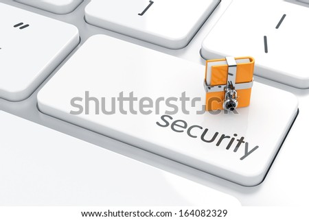 3d illustration of chrome combination lock with folder on the computer keyboard. Security concept  - stock photo