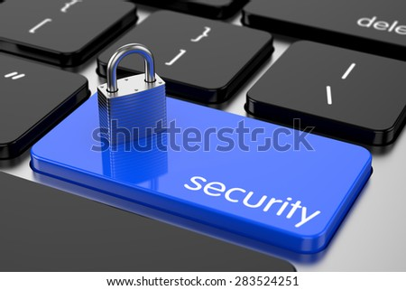 3d illustration of chrome padlock on the computer keyboard. Security concept - stock photo