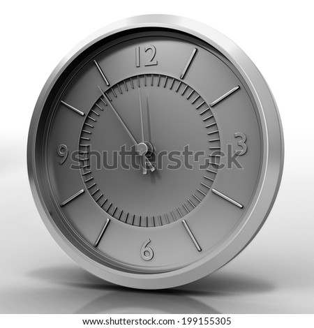 3d illustration of chrome watch isolated on white with shadow