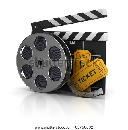 3d illustration of cinema clap, film reel and tickets, over white background - stock photo